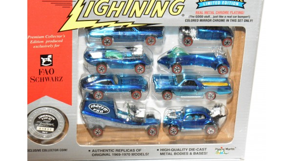 Johnny Lightning FAO Schwarz Blue Chrome 8-Car Set