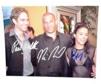 Paul Walker Vin Diesel Michelle Rodriguez Signed Photo