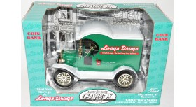 """Gearbox Longs Drugs 1912 Model """"T"""" Delivery Car Coin Bank 1:24"""
